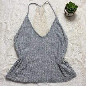 Abercrombie & Fitch Ribbed Lace Knit Top Gray Smal
